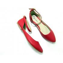 Sapatilha Ballerina Ajustável Vermelha