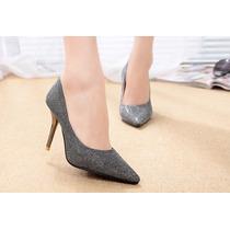 Sapato Salto Alto Bico Fino Glitter Importado Frete Gratis