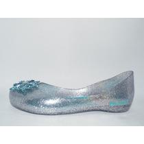Sapatilha Elsa Frozen Prata Azul Com Glitter