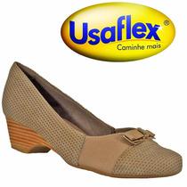 Sapato Usaflex Joanete Conforto Couro Salto 4,5 Cm N1013