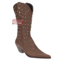 Bota Texana Feminina Chocolate Bico Fino E Cano Longo - Arar