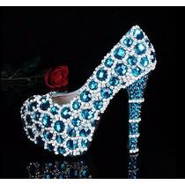 Sapato Personalizado Strass Azul E Prata