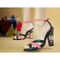 Sapato Salto Alto Florido Importado Exclusivo Bico Redondo