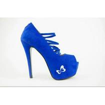 Sapato Feminino Peep Toe Salto Alto Com Ziper, Número 34.