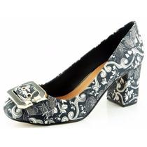 Scarpin Glamm Fivela Floral Sapatos Mania