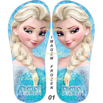 Sandálias Chinelos Personalizados Frozen - Kit Com 16 Pares