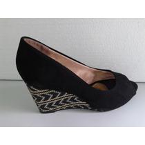 Sapato Peep Toe Anabela Mariota 8051-26 Camurça Preto