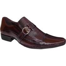 Sapato Masculino Couro Envernizado Vinho Confort Dhl Calçado