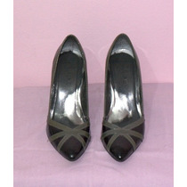 Sapato Scarpin Via Uno - Preto E Cinza - Tam 35
