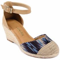 Sandália Espadrille Anabela Dakota Azul / Bege B7491