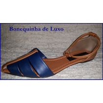 Sapatilha Salomé Bico Fino Azul E Marrom - Frete Grátis