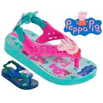 Chinelo Peppa Pig E George Pig Rosa Ou Azul Baby 25833