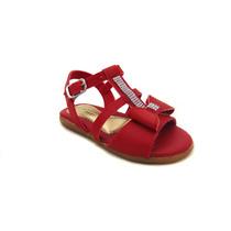 Sandália Infantil Feminina Tiras Vermelha Laço C/ Strass
