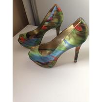 Sapato Peep Toe Cetim Colorido My Shoes 36