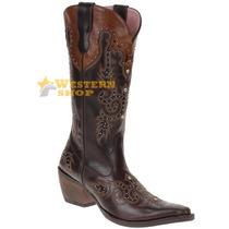 Bota Texana Feminina Cano Alto C/ Strass E Rebites - Goyazes
