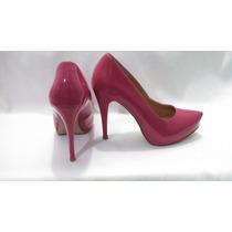 Sapato De Salto Alto Feminino Meia Pata Rosa Envernizado