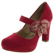 Sapato Feminino Salto Alto Boneca Mixage Vermelho - Clique+