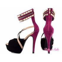Sandália Rosa Pink E Preto Torricella
