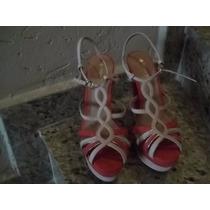 Sandalia Salto Alto Bege E Goiaba Semi Nova
