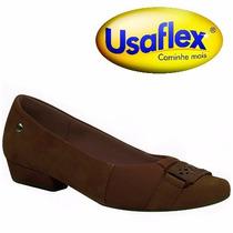 Sapatilha Usaflex Joanete Conforto Couro Chocolate R2323