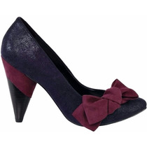 Sapato Scarpin Cecconello Couro Azul Roxo Salto Alto Bico 37