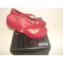 Sapato Melissa Hello Iv Flocada C/ Salto Marrom - Nº 37.