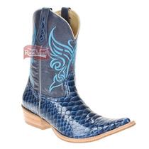 Bota Texana Masculina Cano Longo Anaconda Verniz Celeste Bic