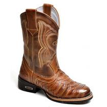 Bota Masculina Texana Bico Redondo Escamada Country Couro