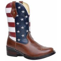 Bota Botina Texana Americana Eua Masculina 100% Couro