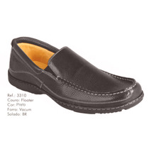 Sapato Linha Conforto Couro Antistress Macio Anatômico Preto