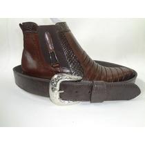 Bota Cowboy Couro Casco Tatú - Grátis Cinto Country