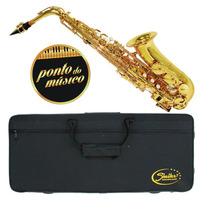 Saxofone Alto Laqueado Shelter Sgft6430l Dourado Case L O J