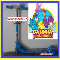 Patinet Infantil 3 Rodas Galinha Pintadinha Azul Com Buzina
