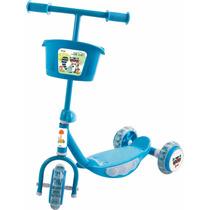 Patinete Para Criança 3 Rodas E Cestinho Acende As Rodas