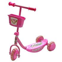 Patinete Infantil 3 Rodas Triciclo Com Luz Led Música Rosa