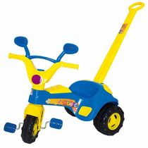 Velotrol Triciclo Baby Music Azul Musical Com Haste