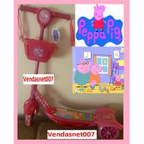 Patinet Infantil 3rodas Peppa Pig Rosa Scooters Luz/musica