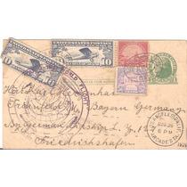 Zeppelin-tour Mundial-1929-postal Usa-alemanha-carimbo Roxo
