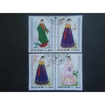 136 - Korea 4 Selos Sem Uso - Vestidos Oriental 1997 - D P R