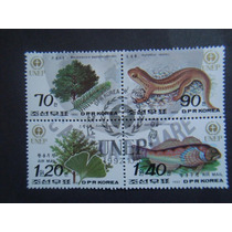 121 - Korea 4 Selos Sem Uso - 1992 - Fauna, Flora - Unep