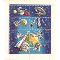 Alemanha-ddr-belo Bloco Astronautica- 8 Selos Coloridos