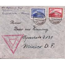 Zeppelin-raro Envelope-alemanha-mexico Via Usa-selos Raros