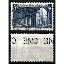 França 1949 * Abadia St. Wandrille * Perfins C N E .difícil