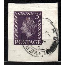 Inglaterra * Fragmento .de Inteiro Postal .antigo * 3d .viol