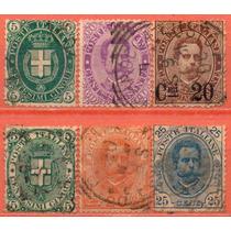 Itália - 1889-96 - Lote 6 Selos Diversos