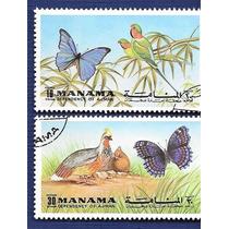 Manama Série 2 Selos Tema Fauna Aves E Borboletas Ano