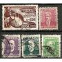 064 Sls- Brasil- 5 Selo Postal Antigo- Carimbado- 1954- 1957