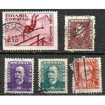 067 Sls- Brasil- 5 Selo Postal Antigo- Carimbado- 1954- 1957