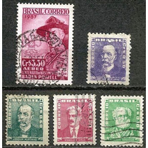 063 Sls- Brasil- 5 Selo Postal Antigo- Carimbado- 1954- 1957