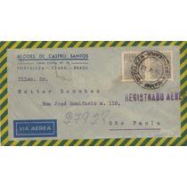 17061 Brasil Envelope Circulado Registrado Aéreo Ce - Sp